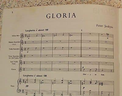 GLORIA score Peter Jenkyns CHRISTMAS music Voice Treble solo Recorders Piano